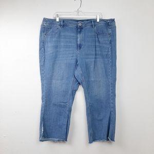 JJill High Rise Cropped Denim Jeans Raw Hem 20W